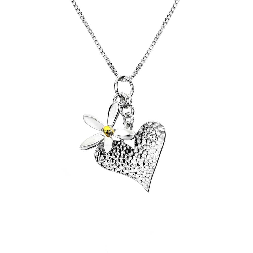 Sea Gems Sterling Silver Single Daisy & Heart Pendant - P1919