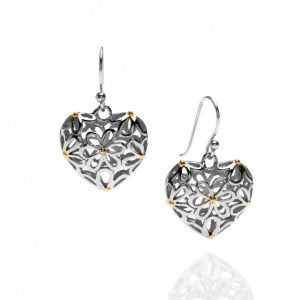 Sea Gems Sterling Silver Double Sided Heart & Daisy Drop Earrings - P1816