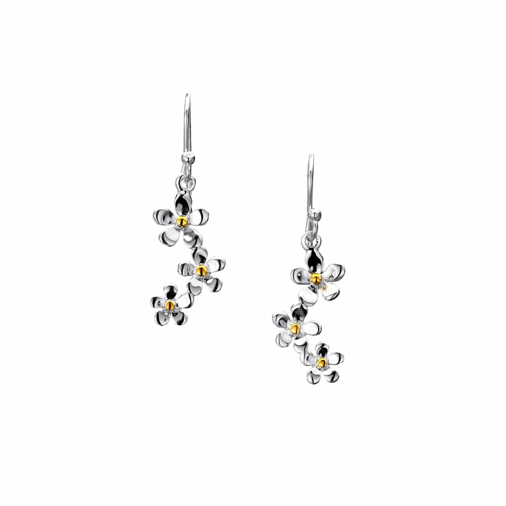 Sea Gems Sterling Silver Triple Daisy Drop Earrings - P1475