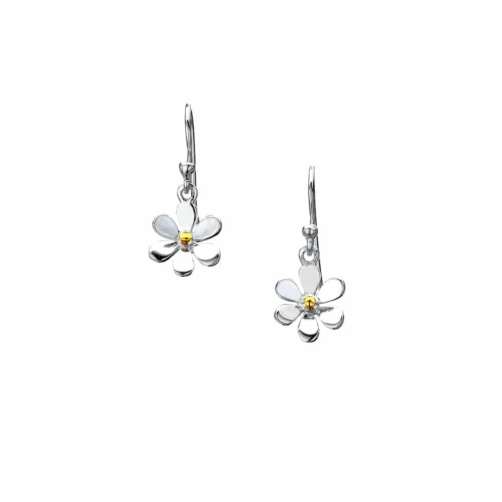 Sea Gems Sterling Silver Single Daisy Drop Earrings - P1452