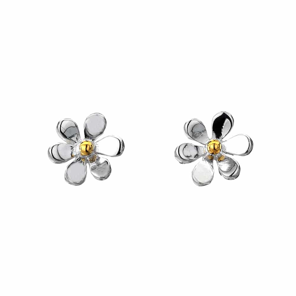 Sea Gems Sterling Silver Single Daisy Stud Earrings - P1473
