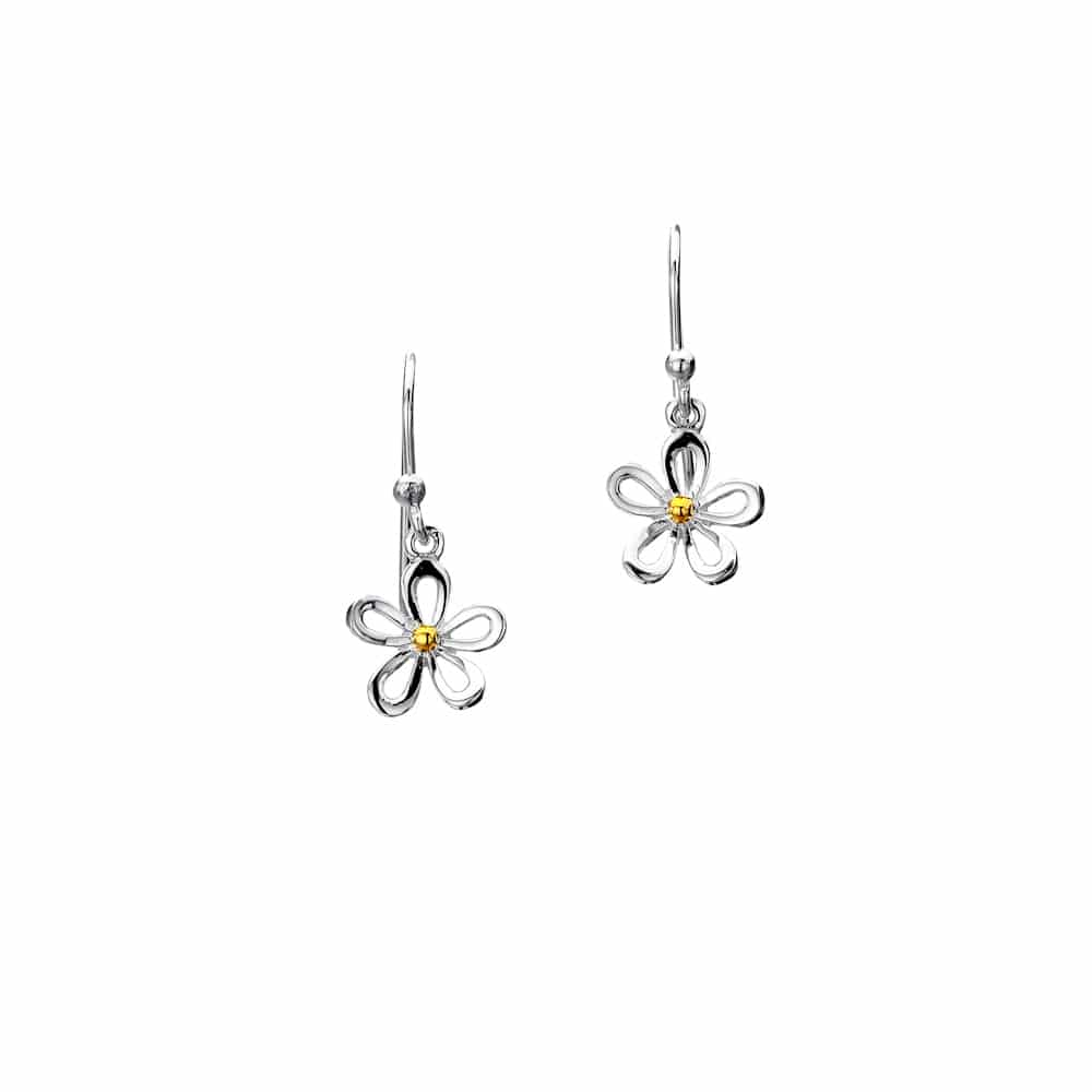 Sea Gems Sterling Silver Single Open Petal Daisy Drop Earrings - P1454