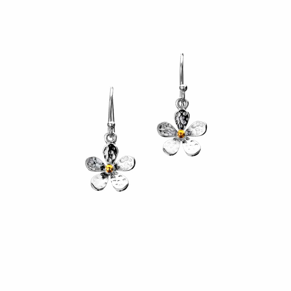 Sea Gems Sterling Silver Single Hammered Daisy Drop Earrings - P1453