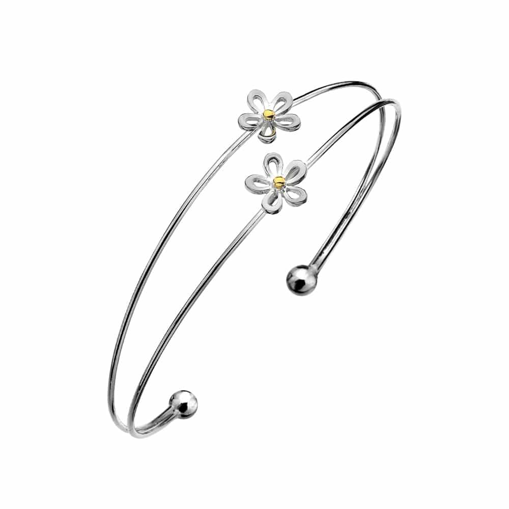 Sea Gems Sterling Silver Double Open Petal Daisy Torque Bangle - P1513