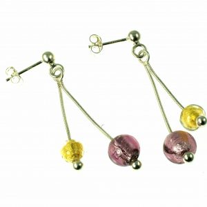 Sterling Silver Drop Earrings with Murano Glass Beads
