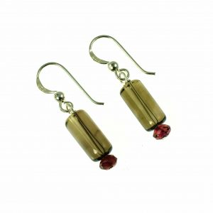 Missy K - Smokey Quartz And Garnet Drop Earrings