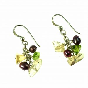 Missy K - Citrine, Peridot And Pearl Drop Earrings