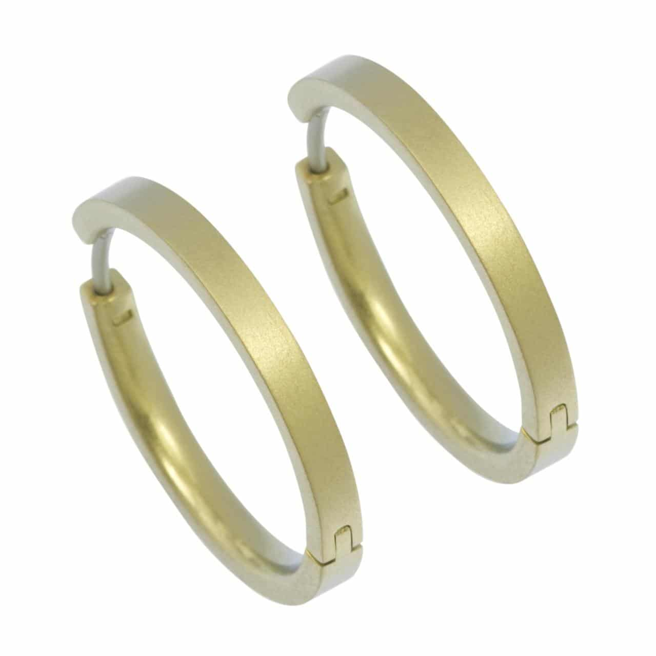 Ti2 Titanium 24mm Diameter Hinged Hoop Earrings - Lemon Yellow