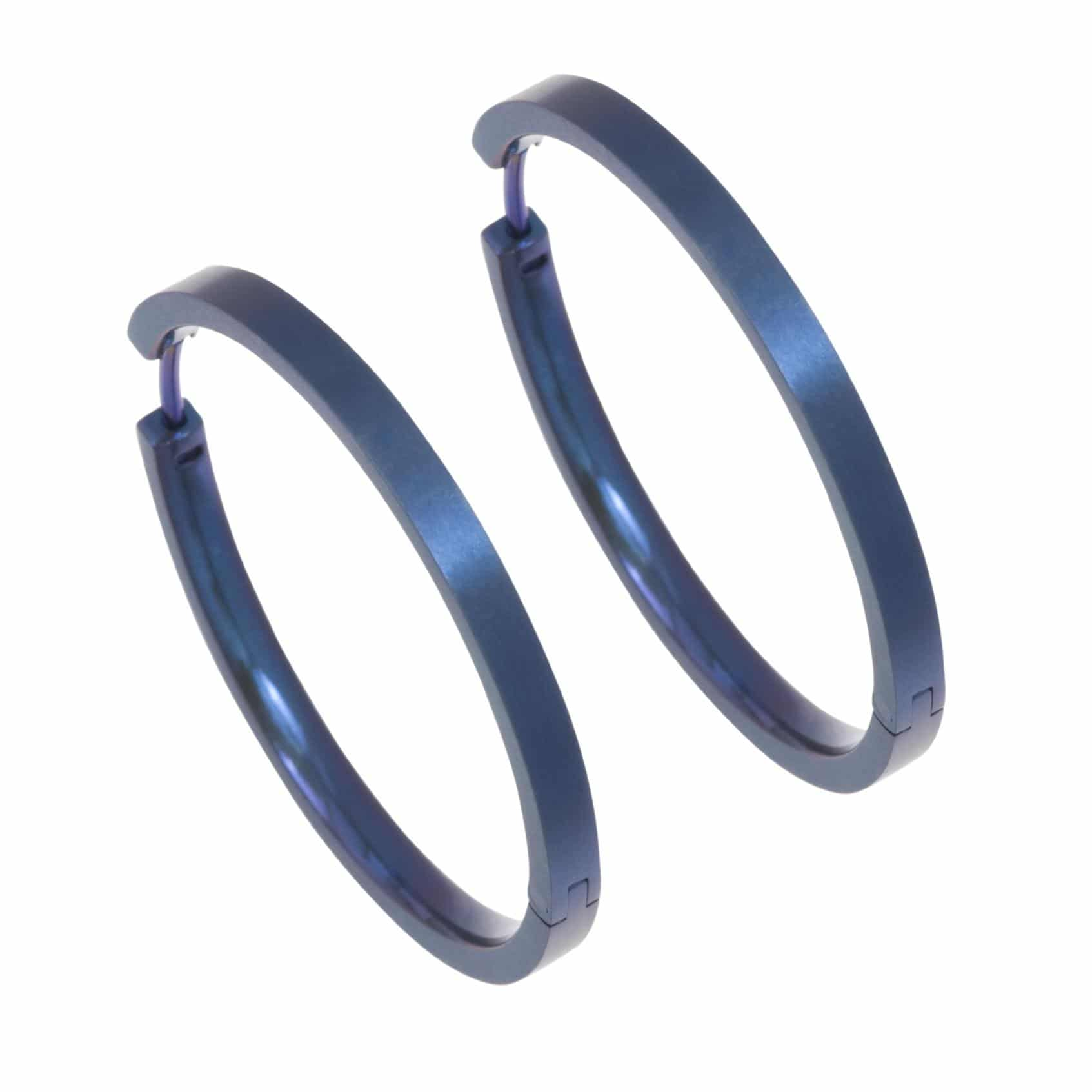 Ti2 Titanium 32mm Diameter Hinged Hoop Earrings - Ink Blue