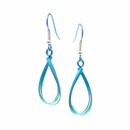 Ti2 Titanium Wire Work Drop Earrings - Green