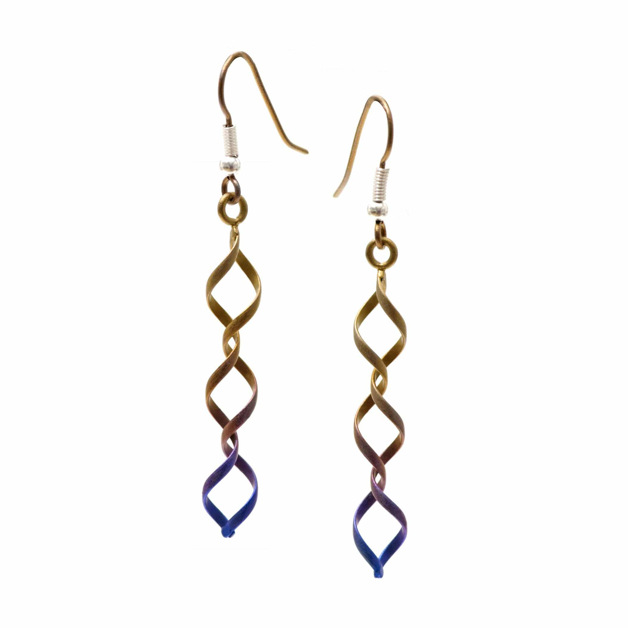 Ti2 Titanium Wire Work Drop Earrings - Brown