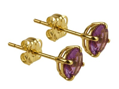 9ct Gold Birthstone Stud With Amethyst- February