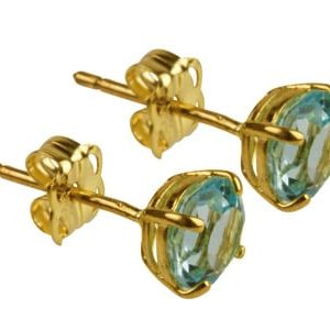 9ct Gold Birthstone Stud With Blue Topaz - March