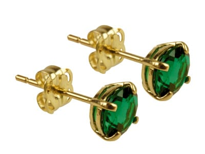9ct Gold Birthstone Stud With Synthetic Emerald - May