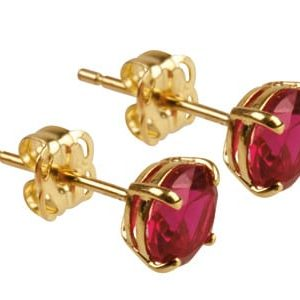 9ct Gold Birthstone Stud With Synthetic Ruby - July