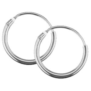 Silver Sleeper Hoop Earrings-13mm