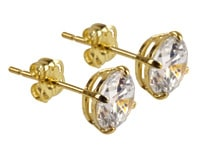 9ct Yellow Gold 6mm C/Z Stud Earrings