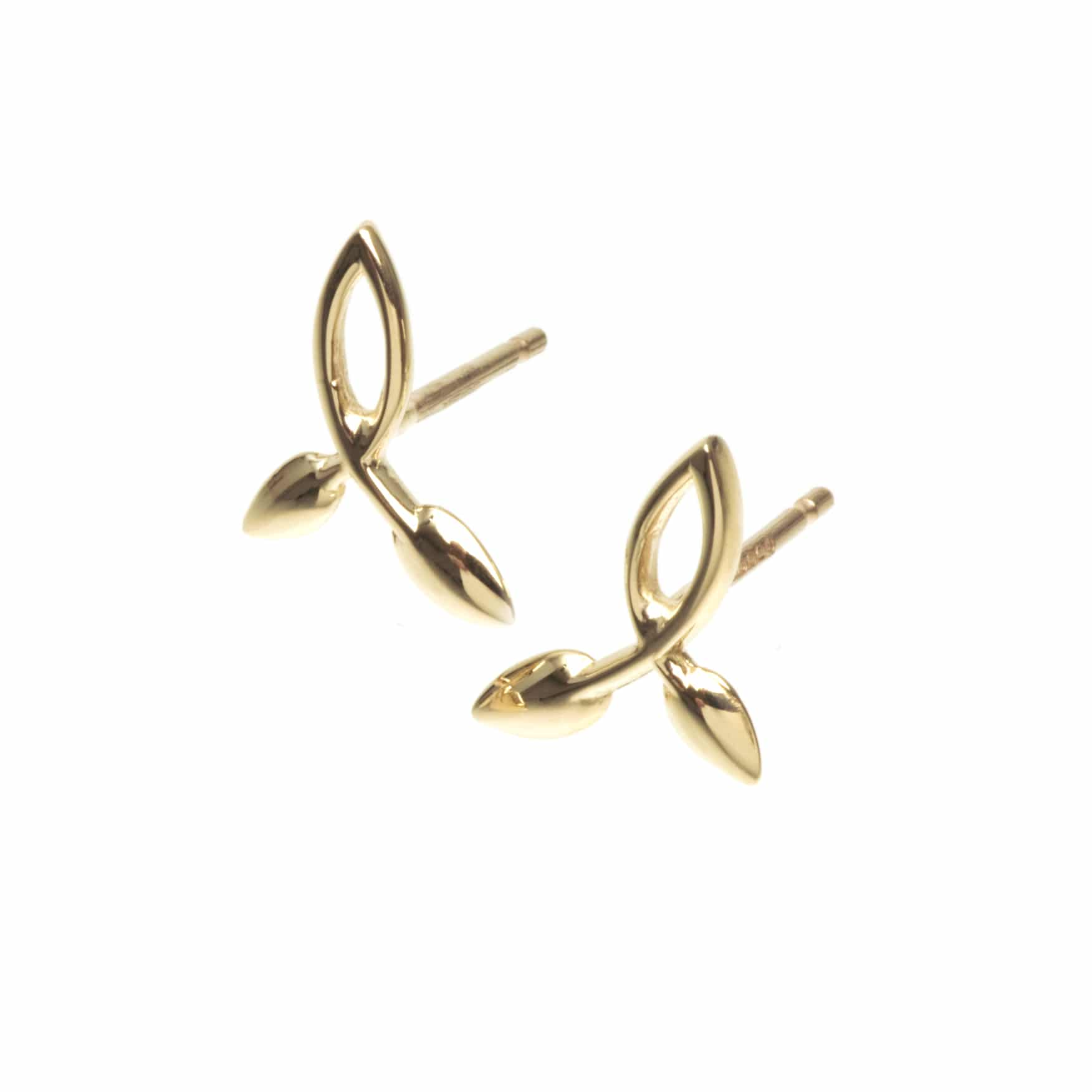 9ct Yellow Gold Leaf Design Studs