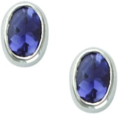 Silver Iolite Stud Earrings