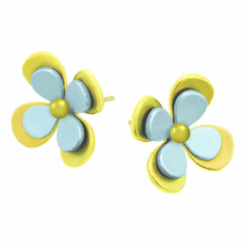 Ti2 S330 Yellow Four Petal Two Tone Titanium Stud - More Colour Options