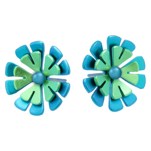 Ti2 Titanium S329 Green Ten Petal Two Tone Titanium Stud - More Colour Options