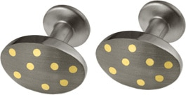 Ti2 Titanium And 18ct Yellow Gold Oval Cufflinks
