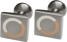 Ti2 Titanium, Silver And 9ct Red Gold Square Cufflinks - Circle