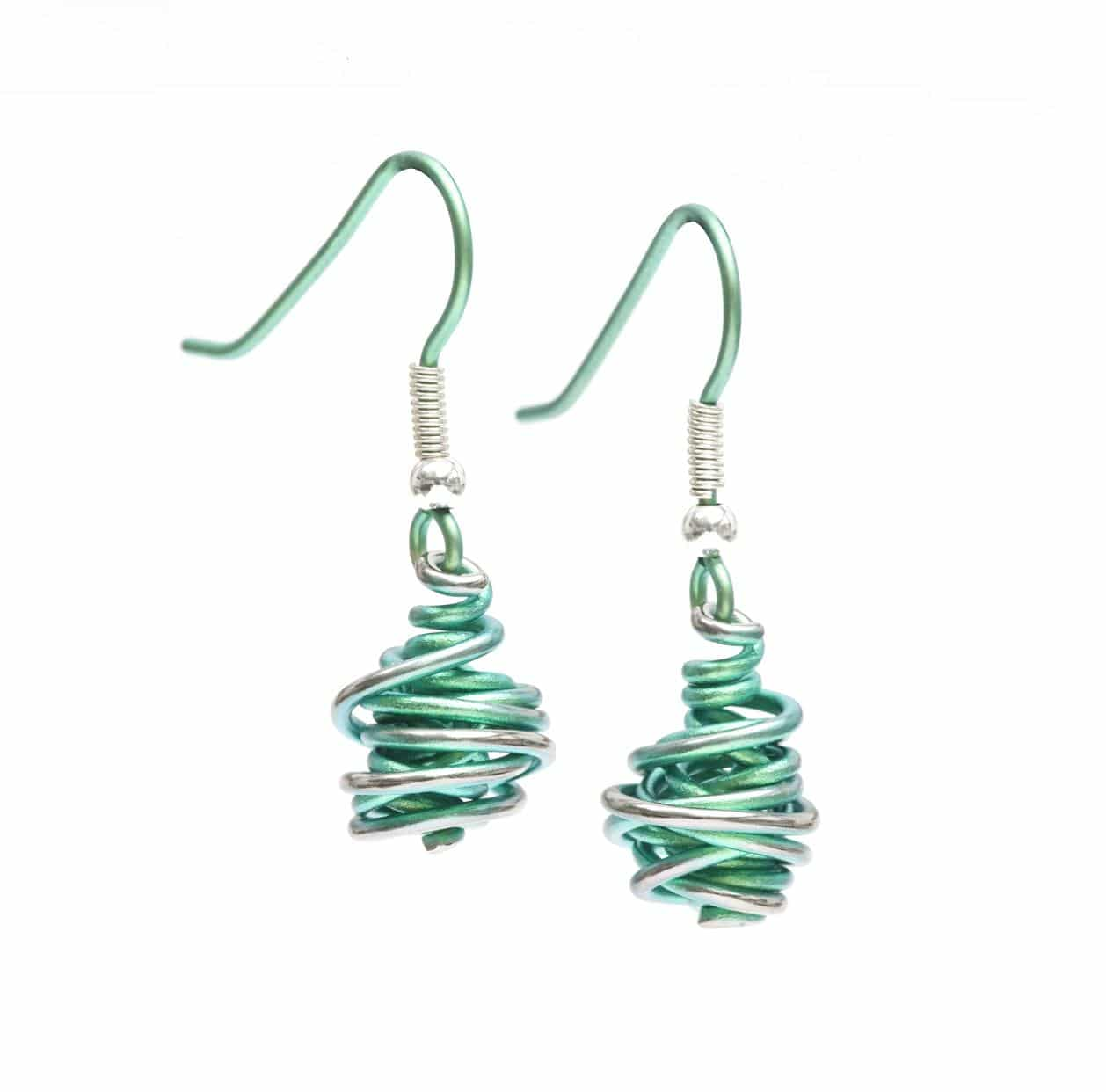 Ti2 Titanium Chaos Drop Earrings Green - More Colours Available