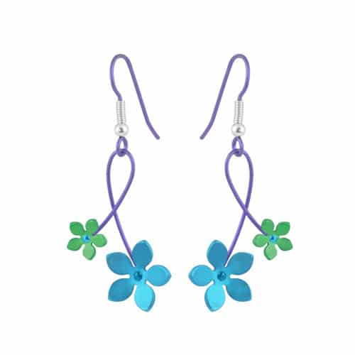 Ti2 Titanium E414 Blue Five Petal Titanium Drop Earring - More Colour Options
