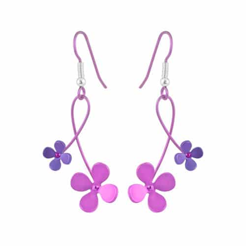 Ti2 Titanium E416 Pink Four Petal Titanium Drop Earring - More Colour Options