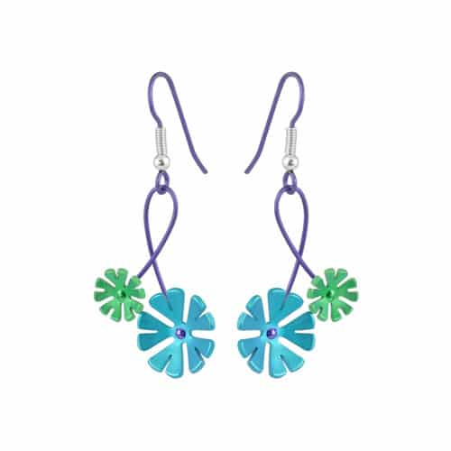 Ti2 Titanium E415 Green Ten Petal Titanium Drop Earring - More Colour Options
