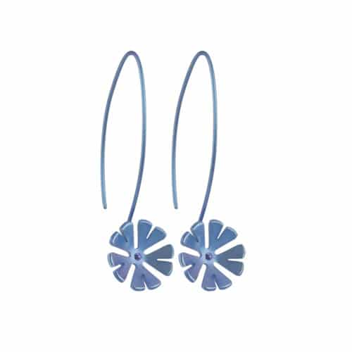 Ti2 Titanium E409 Navy Blue Ten Petal Titanium Drop Earring - More Colour Options