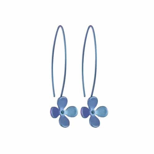 Ti2 Titanium E410 Purple Four Petal Titanium Drop Earring - More Colour Options