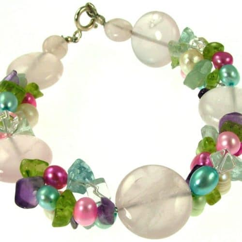 Missy K -  Rose Quartz and Pearl Bracelet