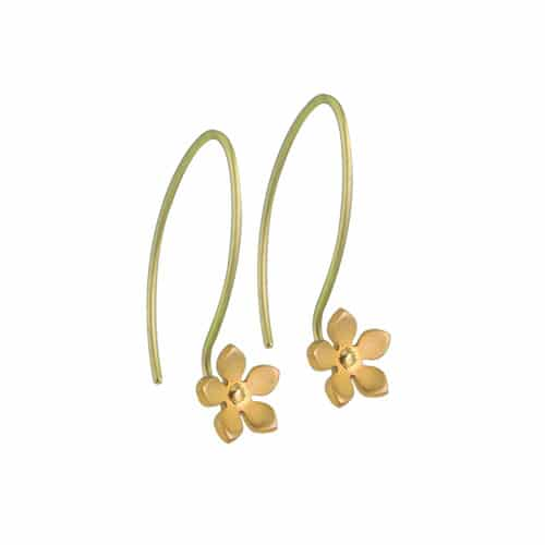 Ti2 Titanium E411 Tan Five Petal Drop Earring - More Colour Options