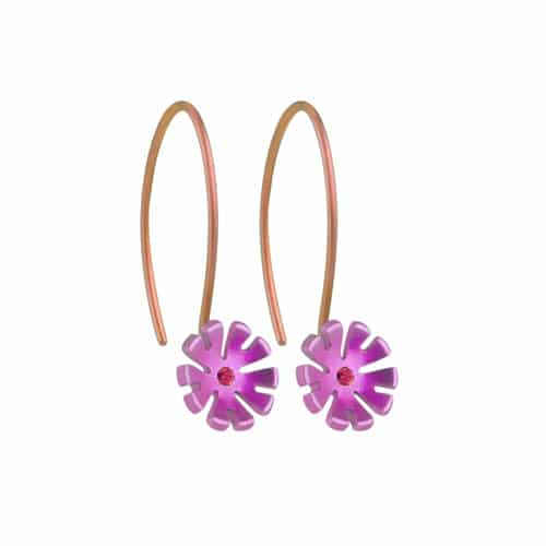 Ti2 Titanium E412 Candy Pink Ten Petal Drop Earring - More Colour Options