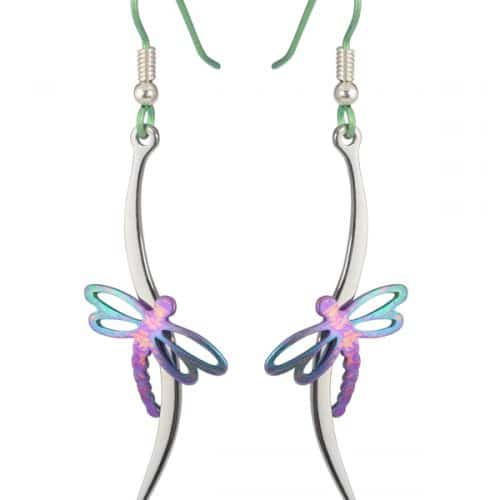 Ti2 Titanium E405 Dragonfly Drop Earrings - More Colours Options