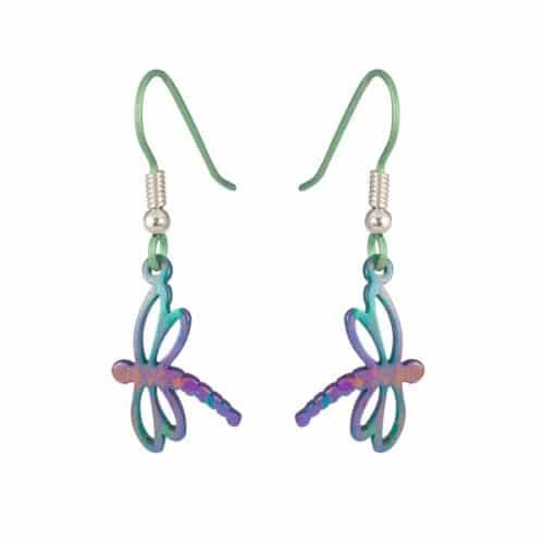 Ti2 Titanium E406 Dragonfly Drop Earrings - More Colours Options