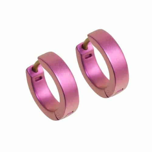 Ti2 Titanium 12mm Diameter Hinged Hoop Earrings - Candy Pink
