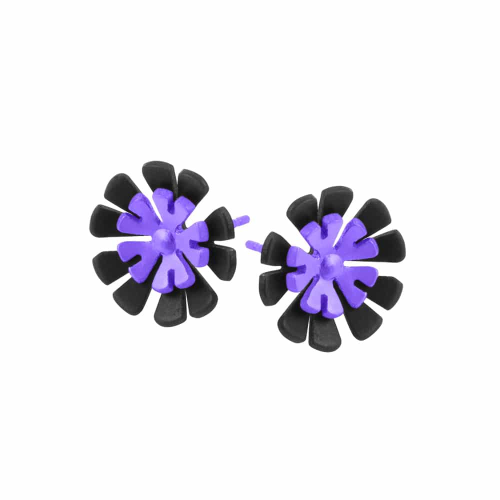 Ti2 S338 Black Titanium, Purple Ten Petal Studs - More Colour Options