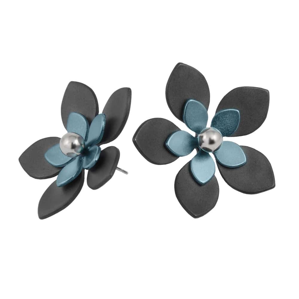 Ti2 S340 Black Titanium, Tan Large Five Petal Studs - More Colour Options