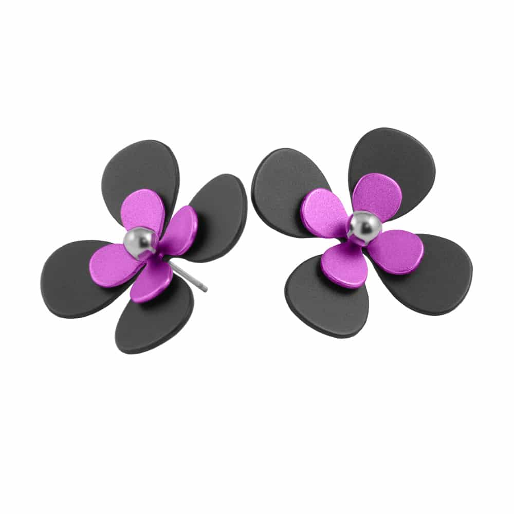 Ti2 S342 Black Titanium, Pink Large Four Petal Studs - More Colour Options