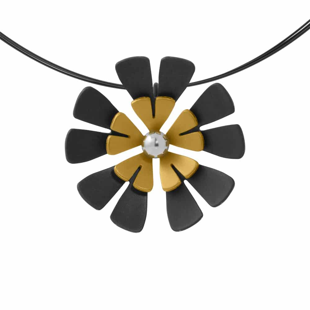 Ti2 P414 Black Titanium, Aqua Ten Petal Pendant - More Colour Options