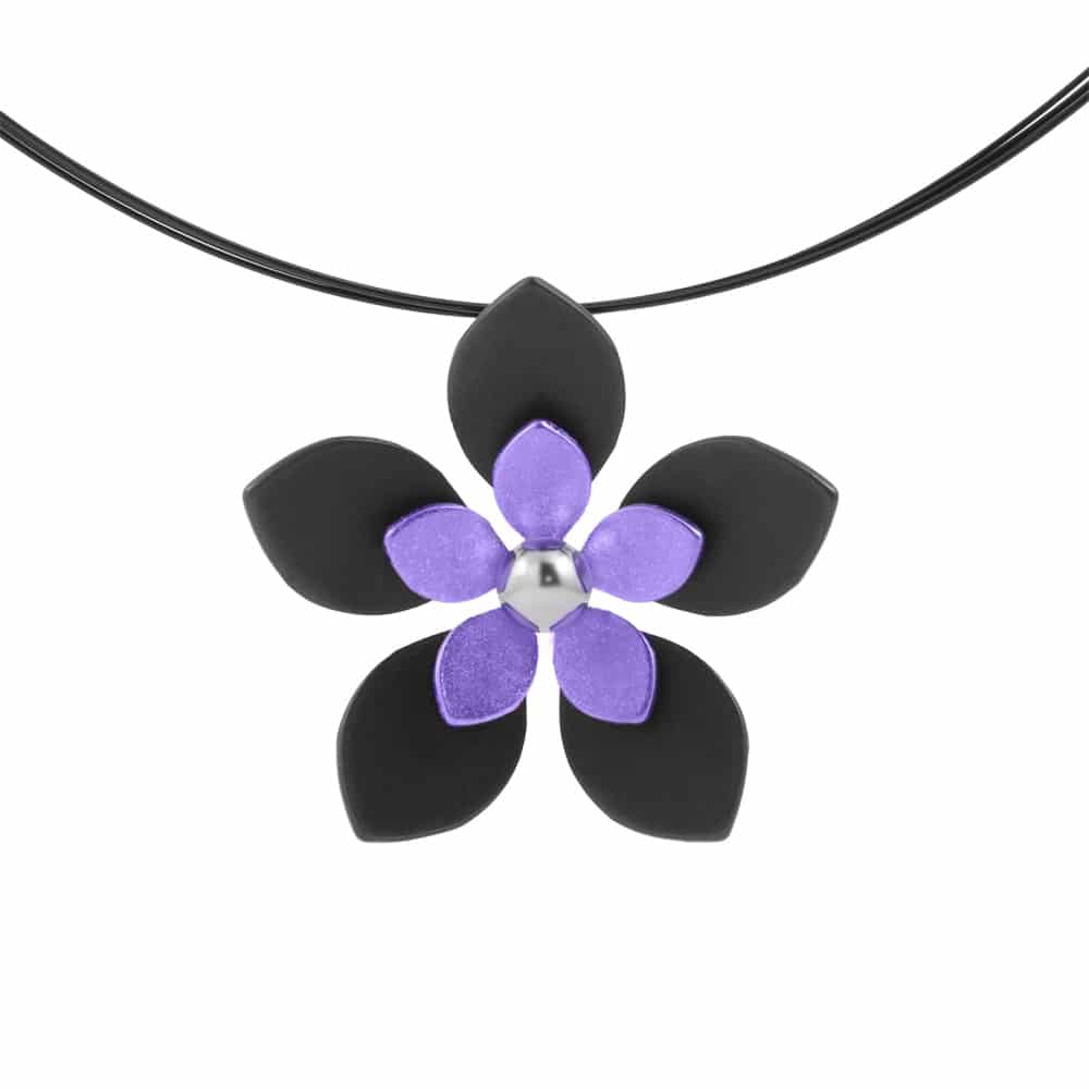Ti2 P413 Black Titanium, Yellow Five Petal Pendant - More Colour Options
