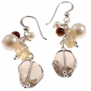 Missy K - Smokey Quartz,  Pearl and Tigers Eye Drop Earrings