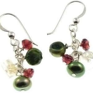 Missy K - Citrine, Garnet And Pearl Earrings