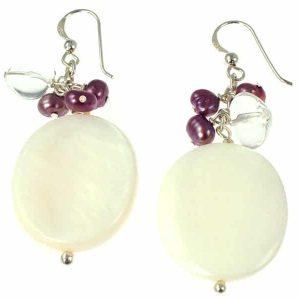 Missy K - Large Mother Of Pearl And Pearl Drop Earrings