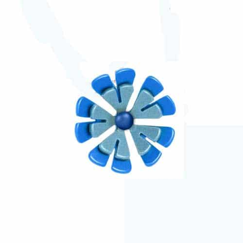 Ti2 P379 Blue Ten Petal Two Tone Titanium Pendant - More Colour Options