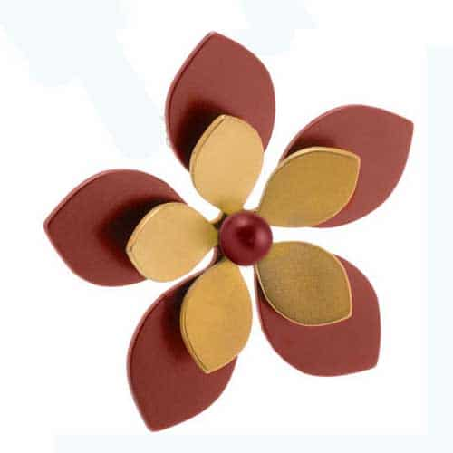 Ti2 P342 Brown Five Petal Two Tone Titanium Pendant - More Colours