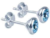 Swaroski Elements And Sterling Silver Birthstone Studs  - March